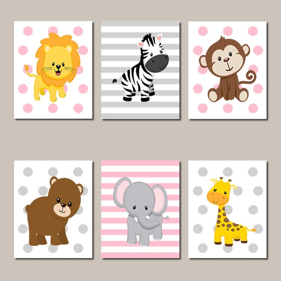 Jungle animals nursery wall art jungle nursery prints or for Kinderzimmer set baby