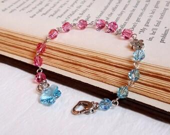 Swarovski crystals bracelet floral charm baby blue and pink