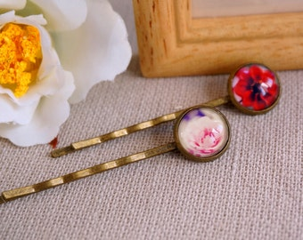 Hair accessory set of two hair pins Red and Pink Floral cabochon