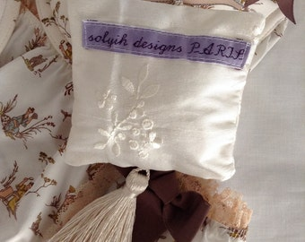 French extra blue provence lavender sachet in British embroidered silk shantung finished with French trims.