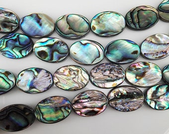 22 pcs 18x13mm Abalone Shell Beads Flat Oval Paua Shell Oval Beads