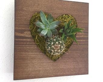 CUSTOM COLOR: Small Heart Succulent + Cacti Vertical Garden | Vertical Planter | Living Wall | Wall Planter | Hanging Planter | Wood