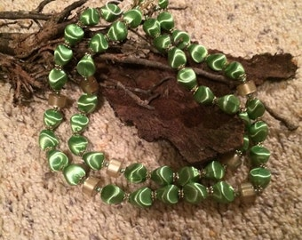 Vintage Green Lucite Dbl Strand Signed Japan Necklace. 19 1/4              Needs Clasp.
