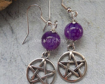 Pentacle/Pentagram Purple Dragons Vein Agate Gemstone Bead Earrings UK