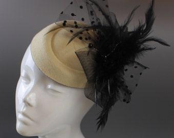 Cream Ivory and Black Hat Pill Box Veil Hatinator UK Wedding Ascot Races Clip Felt