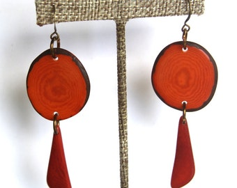 Natural Tagua Earrings in two shades of orange, Light Weight Earrings made with Fair Trade Tagua Nut Beads