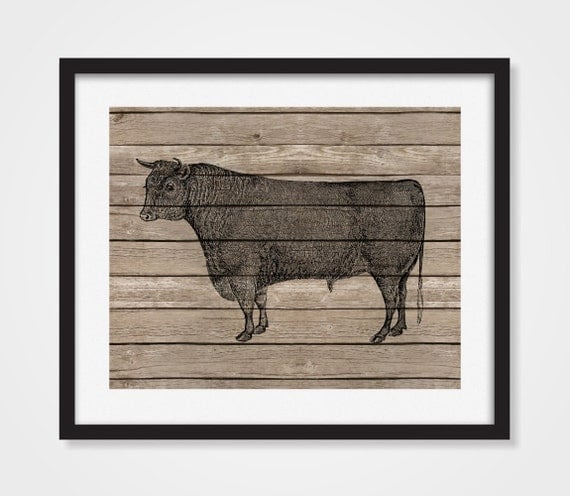 Items Similar To Cow Art Print Kitchen Print Faux Wood Bull Art 5x7 8x10 11x14 Rustic Decor