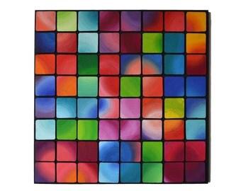Ultracolors  / Wood Wall Art / Original 3D Mosaic