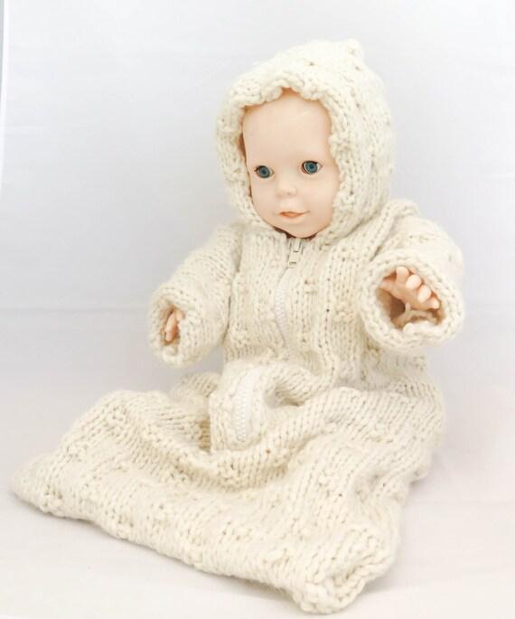 KNITTING PATTERN Baby Sleeping Bag Baby Bunting Hooded Baby