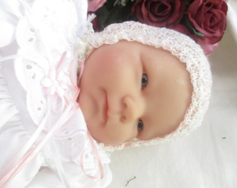 HAND KNITTED BABY Bonnet Photo prop delicate 1 ply yarn new born