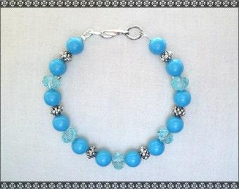 blue bracelet, light blue bracelet, crystal bracelet, Swarovski bracelet