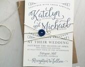 Modern navy calligraphy wedding invitation printable PDF template