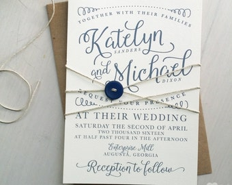 Modern navy calligraphy wedding invitation printable PDF template