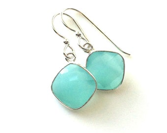 Aqua Chalcedony Silver Earrings,  Aqua Chalcedony Earrings