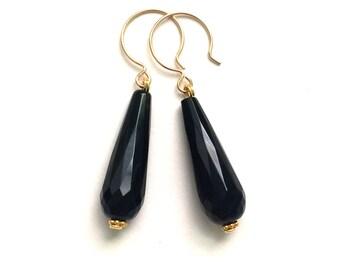 Black Onyx Earrings, Black Onyx Gemstone Gold Earrings