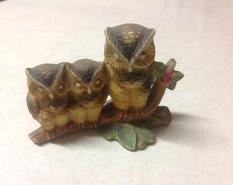 Vintage resin 3 owls figurine made in Taiwan