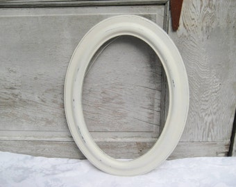 antique oval ivory frame rustic wood picture frame distressed cream frame off white painted frame shabby cottage chic decor 13 x 19