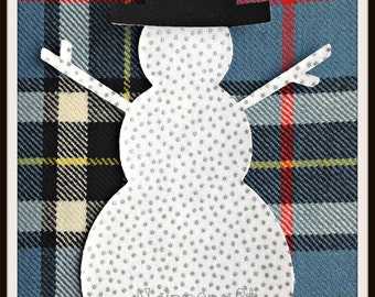 2x51/4in Sn4.White with Silver Spots, Cotton Fabric,Cut Out,Iron On, Applique Snowmen
