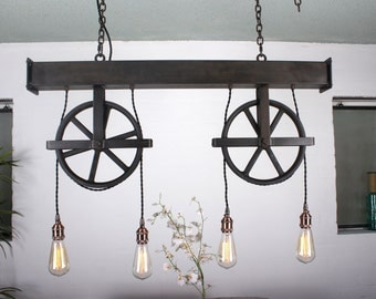 Custom 4' long Handcrafted dual pulley 4 light chandelier with steel beam