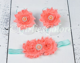 BUY 2 GET 1 FREE---Coral Aqua Baby Barefoot Sandals w/ matching headband, Baby Barefoot Sandals, Baby Sandals, Baby Headband, Baby Shoes