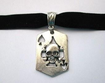 Spade skull choker, black choker, black velvet choker, antiqued silver, spade skull charm jewelry, velvet ribbon choker, poker card necklace