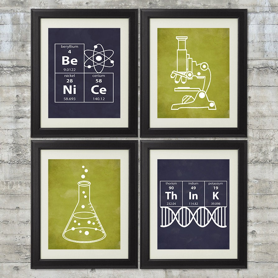 10 Images About Teen Science Themed Bedrooms On Pinterest: Nerdy Science Art Set Of 4 8x10 Instant Download