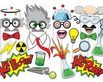 Crazy Scientist Party Props Set - 23 Piece PRINTABLE - Little scientist Party Photo Booth Props, halloween