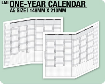2018 / A5 1-year Calendar / fold into A5 - Inserts Refills Filofax Binder Collins