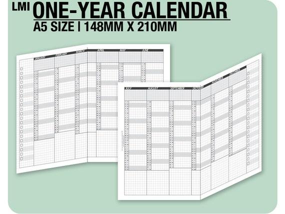 2017 / A5 1-year Calendar / fold into A5 - Inserts Refills Filofax Binder Collins