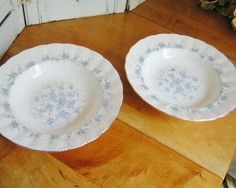 2 Vintage Rimmed Soup Bowls in Paragon PETIT FLEURS Pattern English Bone China Made in England Cottage Chic Blue Flowers