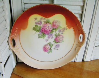 Vintage German Porcelain Cabinet Plate with Pierced Handles and a Sweet Hydrangeas Design Display Plate Gold Trim
