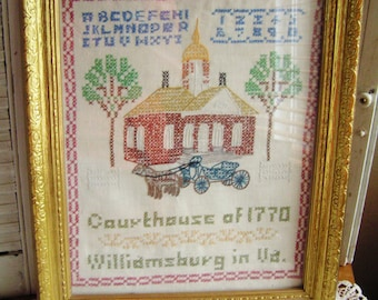 "Vintage Cross Stitch Sampler in Wooden Wood Gold Frame Glass Front Williamsburg Virginia Courthouse 1770 16.25"" x 13.25"""