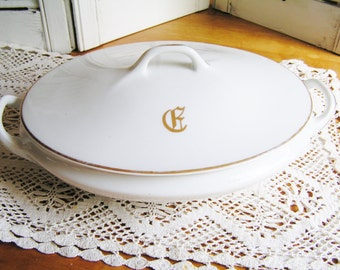 Vintage Hand Painted Favorite Bavaria Monogramed F Covered Casserole Gold Accents F Monogram