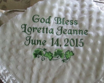 Personalized Embroidered Baby Blanket / A bit of Irish style/Shamrocks  This will be the WOW gift!  New Baby, Baptism, Christening.