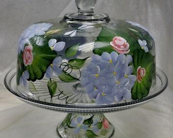 Spring Hydrangea and Rosebud Cake Keeper/Punch bowl