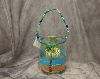 Tropical Palm hand painted candle holder