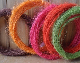 Wired Sisal Twine 10 Meter Length - Choose Your Color