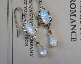 Small Moonstone Earrings ~ Vintage Glass ~ Edwardian Style ~ Small White Opal ~ Boho ~ Vintage Style ~ SILVER also ~ by LadyofTheLakeJewels