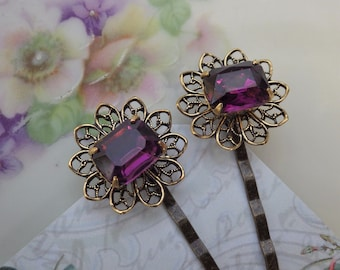 Purple Bobby Pins ~ Vintage Style ~ Vintage Amethyst Glass ~ Purple Plum ~ Hair Pins ~ by LadyofTheLakeJewels