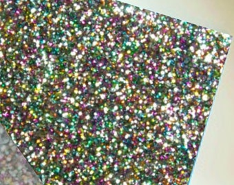 "Rainbow Glitter Acrylic Sheet, Plexiglass, Perspex, Laser Cut Plastic 1/8"" (3mm) Thick; For Lasering, Cutters, Milling, etc."