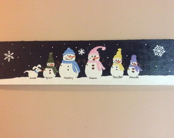 Custom snowman family sign.  Perfect addition to your holiday decor!