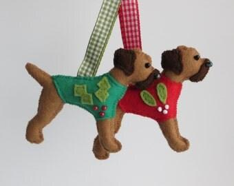 Christmas Red Grizzle Border Terrier felt ornament