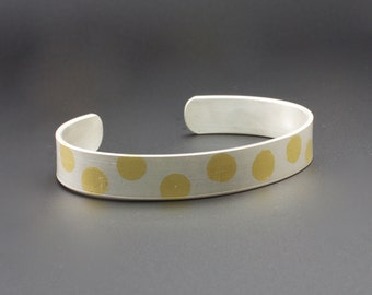 Sterling Silver and Gold Cuff Bracelet - Keum Boo Bracelet - Polka Dot Cuff Bracelet - Modern Artisan Jewelry - Womans Cuff