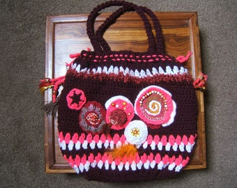 HANDBAG freeform crochet wool 40cmx40cm