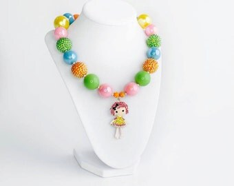 Lalaloopsy Chunky Necklace, Lalaloopsy Birthday Outfit, Girls Chunky Necklace, Birthday Chunky Necklace, Lalaloopsy Birthday