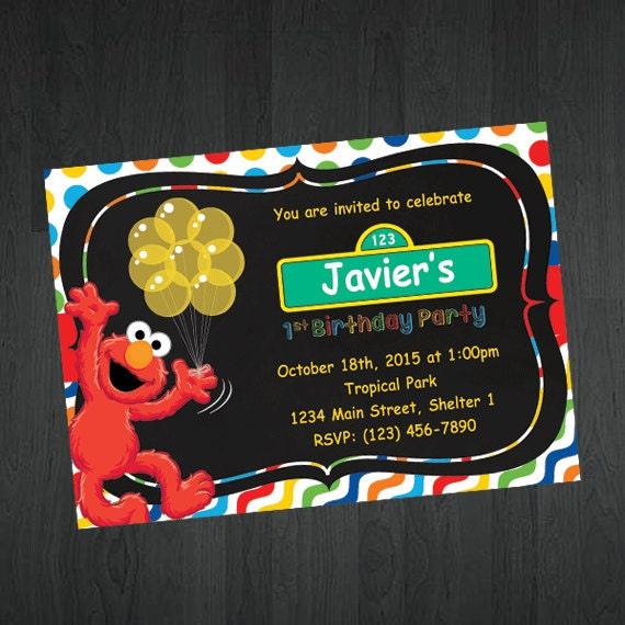Elmo Birthday Invitation Sesame Street by MemorableImprints