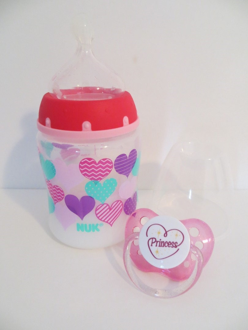 Reborn Baby Bottle Pink Hearts 5 Oz Fake Milk Formula