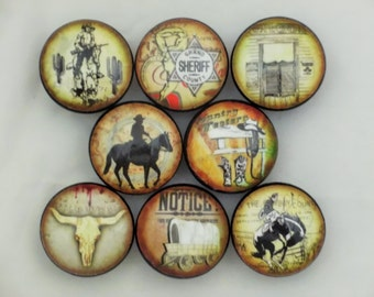 Set of 8 Old West Cowboy Cabinet Knobs