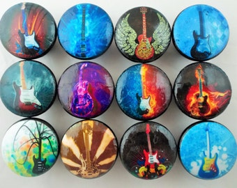 Set of 12 Rock and Roll Guitars Cabinet Knobs