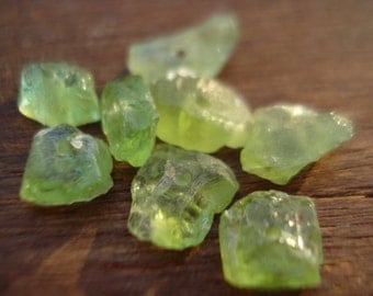 Peridots Beads - Drilled Rough Raw Uncut Peridots - 8 Drilled Genuine Raw Peridots MG491
